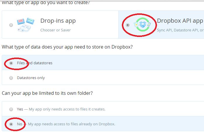 Application Registration > Dropbox Registration